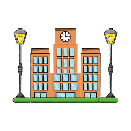 big city building icon Illustration