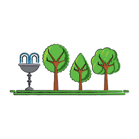 Park with decorative water fountain illustration.