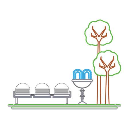 장식 물 분수와 좌석 아이콘 그림 공원입니다.