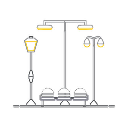Seats and street lamps illustration.