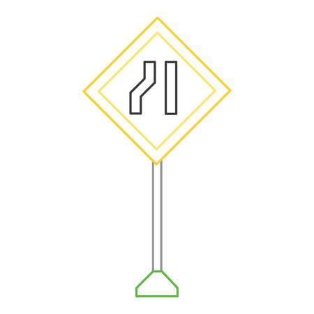 One road narrow sign, warning road icon illustration. Illustration