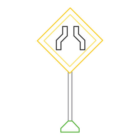road narrows sign, warning road icon over white background vector illustration
