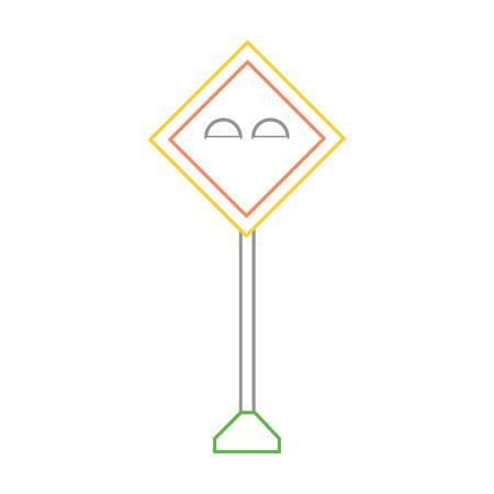 middle lights, warning road icon over white background colorful design vector illustration Illustration