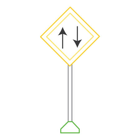 two way, warning road icon over white background colorful design vector illustration