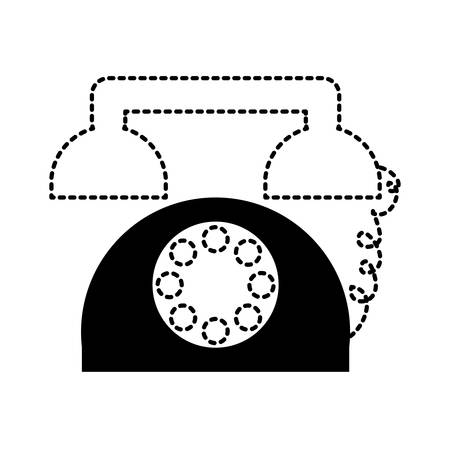 A retro telephone icon over white background vector illustration
