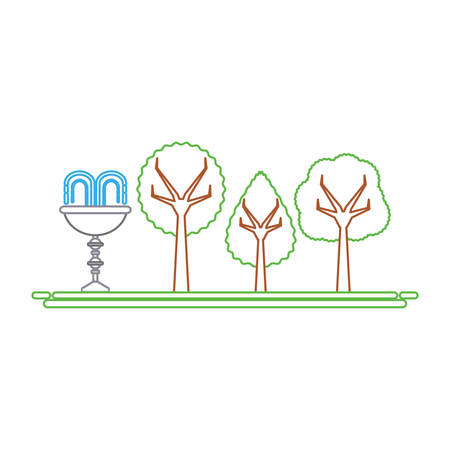 Park with decorative water fountain icon over white background colorful design vector illustration.