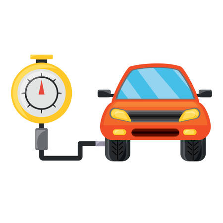 Tire gauge - measuring the tire pressure of a car over white background, colorful design vector illustration