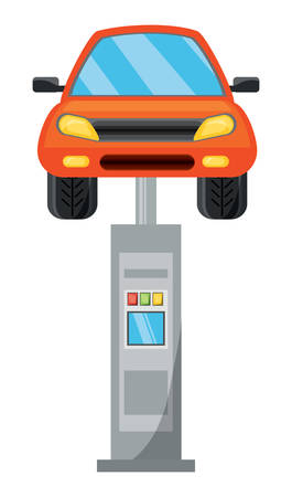 Car on car lifting machine over white background colorful design vector illustration