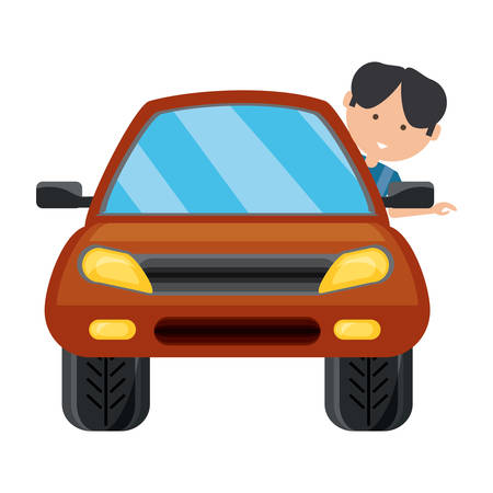 Car with cartoon man with head out the window over white background colorful design vector illustration.