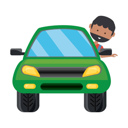 Car with cartoon man with head out the window over white background colorful design vector illustration