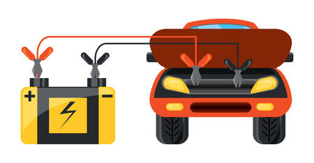 car connected to a car battery over white background colorful design vector illustration Illustration