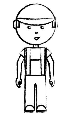 A sketch of cartoon mechanic standing over white background vector illustration