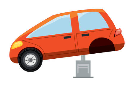 Car lifting machine and car icon. Illustration