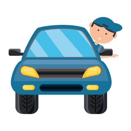 Car with cartoon mechanic with head out the window over white illustration.