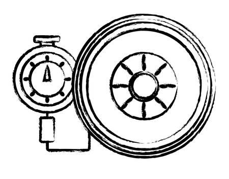 Tire gauge measuring the tire pressure over white illustration. Illustration