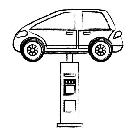 Car on a car lifting machine over white background vector illustration