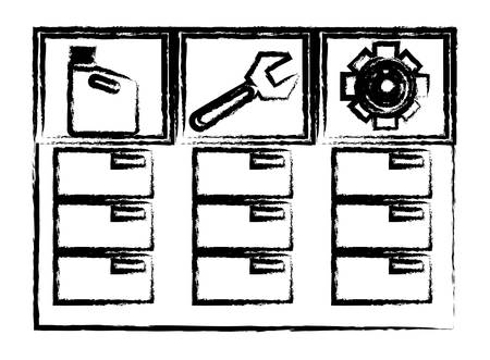 Sketch of drawers with mechanic tools over whtie background vector illustration