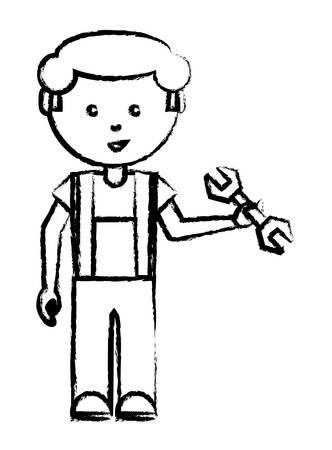 Cartoon mechanic man standing and holding a wrench tool over white illustration. Vettoriali