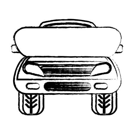 Sketch of car with open hood icon over white background illustration.