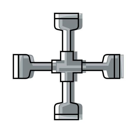 Cross piece tool icon illustration. Illustration