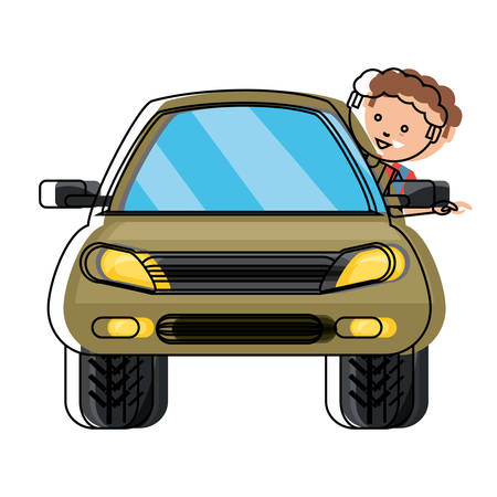 Car with cartoon man with head out design illustration.