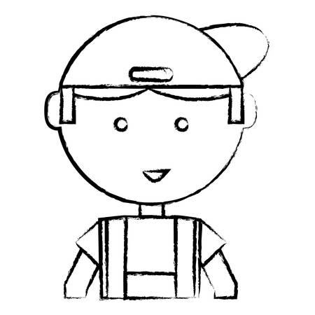 Sketch of cartoon mechanic man icon over white background illustration. Illustration