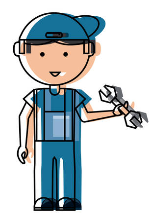 Cartoon mechanic man standing and holding a wrench tool over white background. colorful design illustration. Illustration