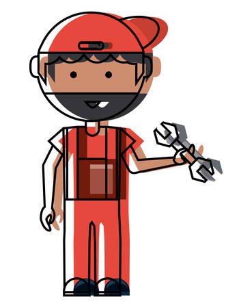 Cartoon mechanic man standing and holding a wrench tool over white background. Colorful design illustration.