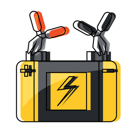 pliers connected to car battery icon over white background colorful design vector illustration