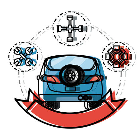car service emblem with decorative ribbon and related icons around colorful design vector illustration