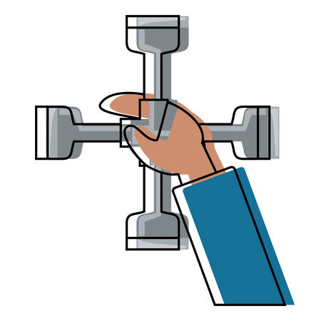 Hand holding a cross piece tool icon. Illustration