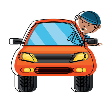 car with cartoon mechanic with head out the window over white background colorful design vector illustration Illusztráció