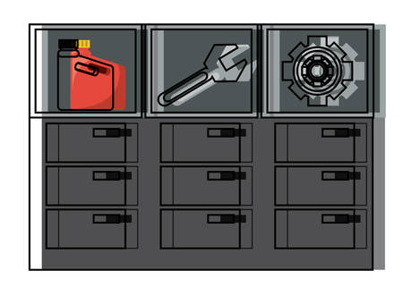 chest of drawers of mechanic tools over whtie background colorful design vector illustration