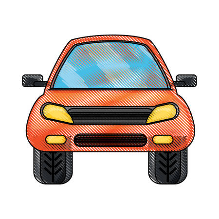 front view of a car icon over white background colorful design  vector illustration