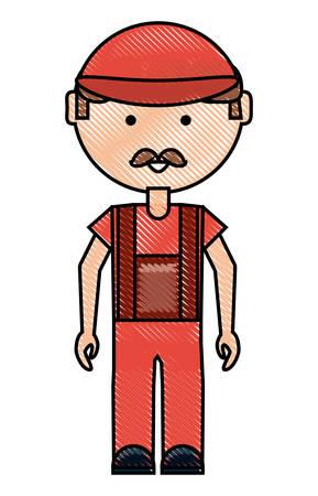 cartoon mechanic man standing over white background colorful design vector illustration