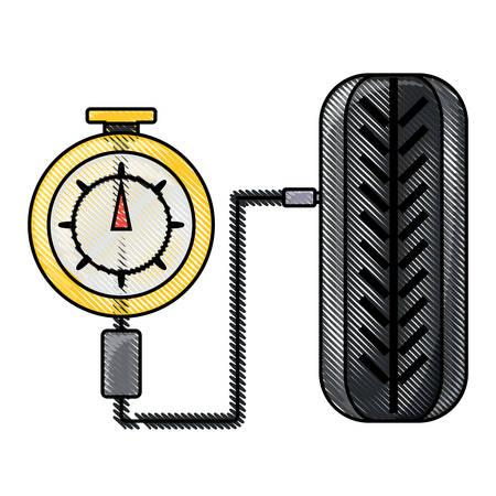 tire gauge measuring the tire pressure over white background colorful design vector illustration Illustration