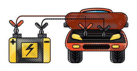 Car connected to a car battery over white illustration with colorful design.