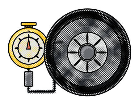 Tire gauge measuring the tire pressure over white illustration with colorful design.