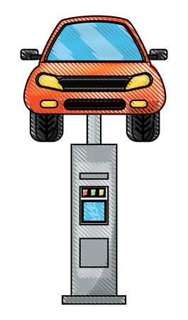 Car lifting equipment and car icon. Illustration