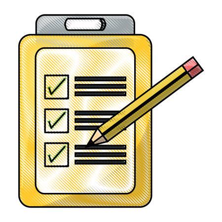 Checklist and pencil icon. Vettoriali