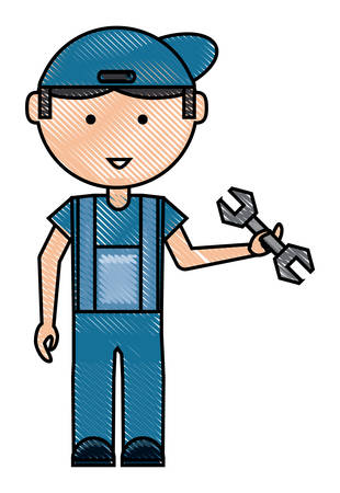 cartoon mechanic man standing and holding a wrench tool over white background colorful design vector illustration