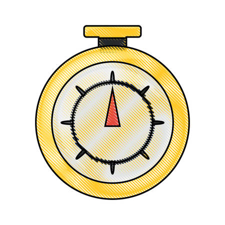 chronometer device icon over white background colorful design vector illustration
