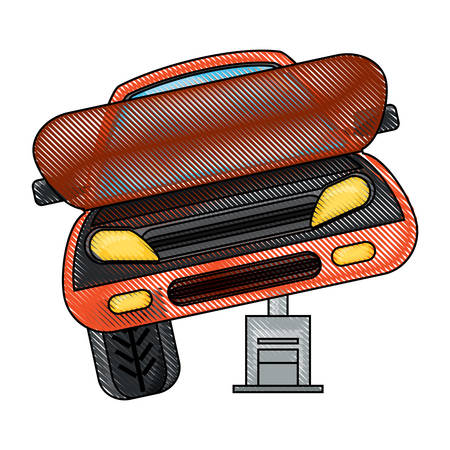 Car service design with car on a Automotive Jack over white illustration with colorful design.