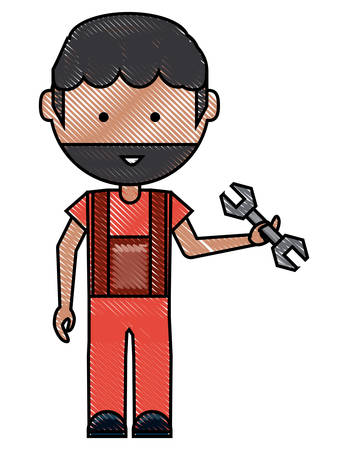 Cartoon mechanic man standing and holding a wrench tool over white illustration with colorful design.