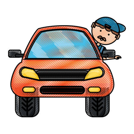 Car with cartoon man with head out the window over white illustration.