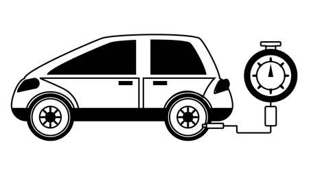 Tire gauge measuring the tire pressure of a car over white illustration.