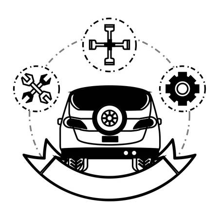Car service emblem with decorative ribbon and related icons.