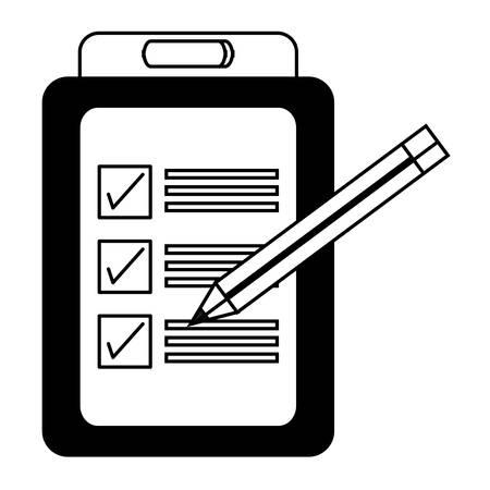 checklist and pencil icon over white background vector illustration