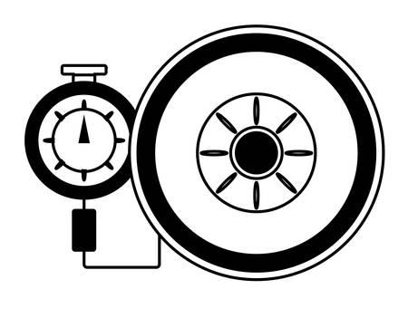 tire gauge measuring the tire pressure over white background vector illustration Illustration
