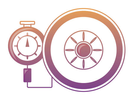 Tire gauge measuring the tire pressure over white background colorful design vector illustration. 일러스트